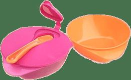 TOMMEE TIPPEE miseczka z pokrywką i łyżeczką Explora, 2 szt. pomarańczowo-różowe