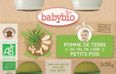 2x BABYBIO Príkrm zemiaky s hráškom 130 g