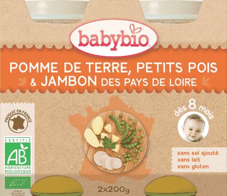 2x BABYBIO Menu zemiaky a hrášok so šunkou 200 g