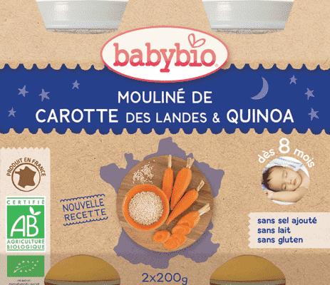 BABYBIO Večerní menu mrkvové mouliné a quinoa 2 x 200 g
