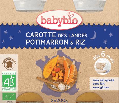 BABYBIO Večerní menu mrkev dýně rýže 2 x 200 g
