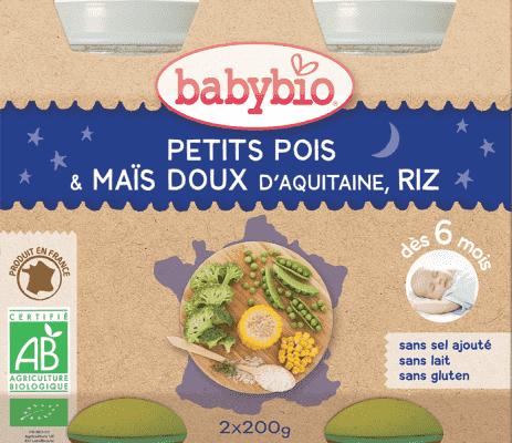 2x BABYBIO Večerní menu hrášek sladká kukuřice rýže 200 g
