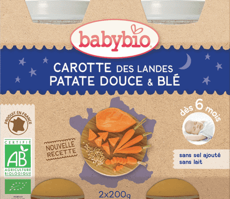 2x BABYBIO Večerné menu mrkva so sladkými zemiakmi a pšenicou 200 g