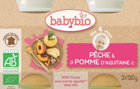 BABYBIO Příkrm broskev jablko 2 x 130 g