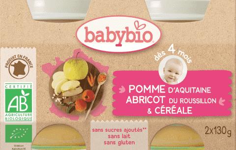 BABYBIO Příkrm jablko meruňka cereálie (2x130g)