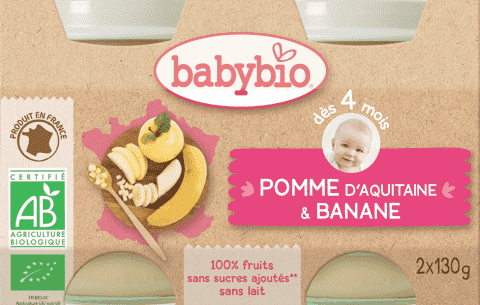 2x BABYBIO Príkrm jablko banán 130 g
