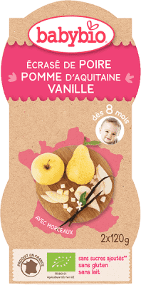 2x BABYBIO Príkrm hruška jablko vanilka 120 g