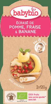 2x BABYBIO Príkrm jablko jahoda banán čučoriedky 120 g