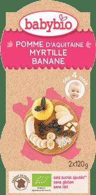 2x BABYBIO Príkrm jablko, čučoriedka, banán 120 g