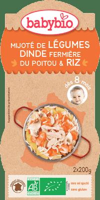 BABYBIO Menu zelenina s krůtím masem a rýží 2 x 200 g