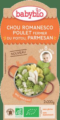 BABYBIO Příkrm Romanesco s farmářským kuřetem a parmezánem - maso-zeleninový příkrm (2x200g)