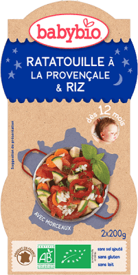 2x BABYBIO Ratatouille po prowansalsku z ryżem 12m+ (200 g)
