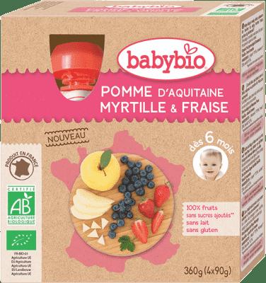 BABYBIO Kapsička jablko borůvky jahody - ovocný příkrm (4x90g)