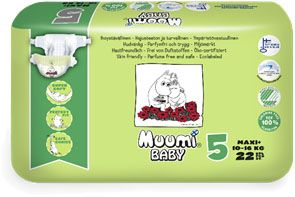 MUUMI Baby 22 ks MAXI+ 10-16 kg, vel. 5 - jednorázové pleny