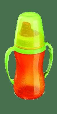 LOVI Nekvapkajúci hrnček 250ml - 12 + m - oranžový