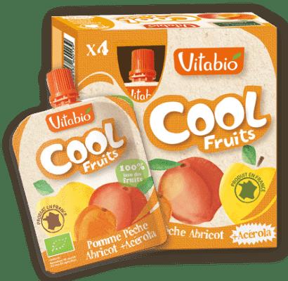 4x VITABIO Jablko, broskyňa, marhuľa a acerola Cool fruits 90 g - ovocné kapsičky