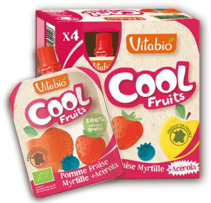 4x VITABIO Jablko, jahody, čučoriedky a acerola Cool fruits 90 g - ovocné kapsičky