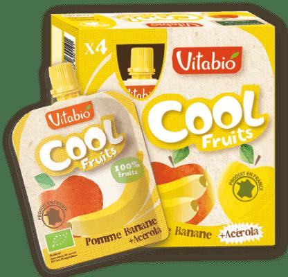 4x VITABIO Jablko, banán a acerola Cool fruits 90 g - ovocné kapsičky