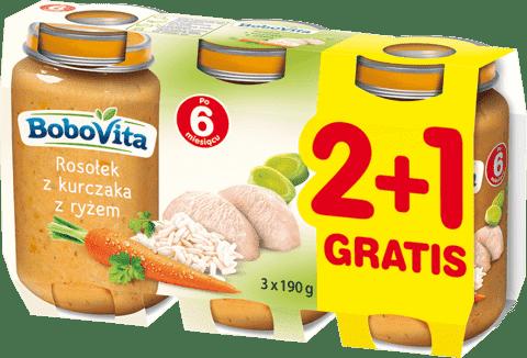 3x BOBOVITA Rosołek z kurczakiem z ryżem (190g)