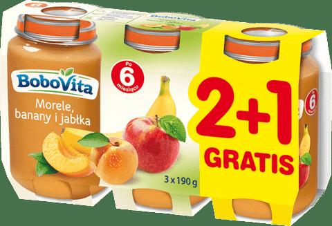 3x BOBOVITA Jabłka morele i banany (190g)