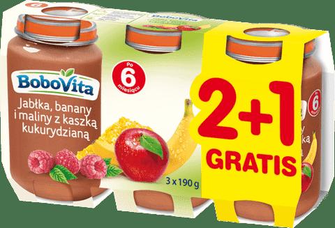 3x BOBOVITA Jabłka, banany i maliny z kaszką kukurydzianą (190g)