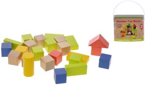2-PLAY Kocky drevené v kýbliku 50 ks, 12m+