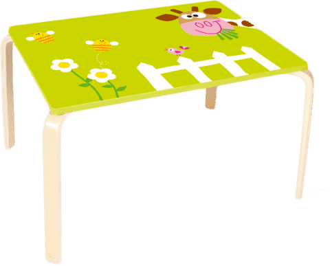 SCRATCH Drewiany dziecięcy stół Krówka