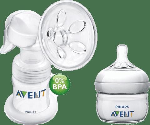 AVENT Manuálna odsávačka mlieka Natural so zásobníkom 125ml PP + mini fľaša