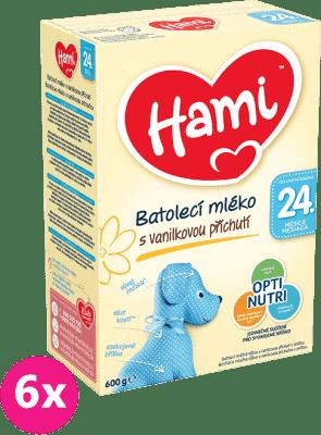 6x HAMI 24+ s príchuťou vanilky (600 g) – dojčenské mlieko