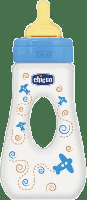 CHICCO Butelka podróżna, polipropylen, 240ml, smoczek kauczukowy, 0m+, samolocik, niebieska