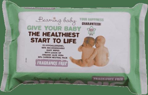 BEAMING BABY Organické vlhčené ubrousky bez vůně, 72 ks