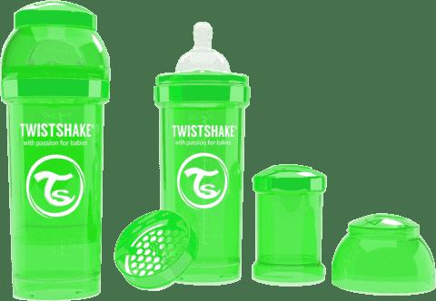 TWISTSHAKE Antykolkowa butelka 260ml Zielona