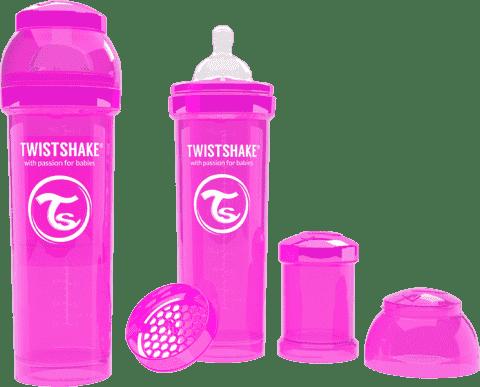 TWISTSHAKE Antykolkowa butelka 330ml Różowa