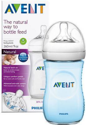AVENT Dojčenská fľaša Natural 260 ml + Natural 260 ml modrá