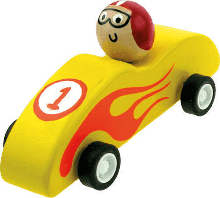 BINO Drevené autíčko so zotrvačníkom, žlté