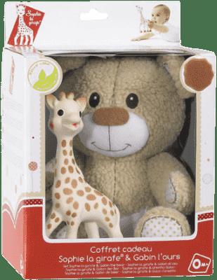 VULLI Set plyšový méďa Gabin + žirafa Sophie