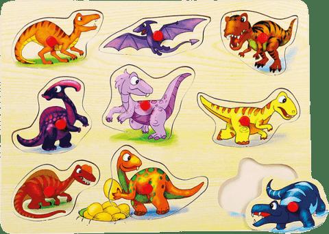 BINO Puzzle na desce 9 ks – Dinosauři