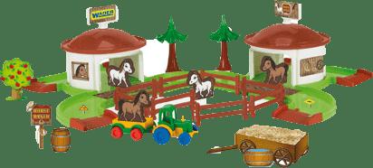 WADER Kid Cars 3D - Koňský ranč s doplňky WADER