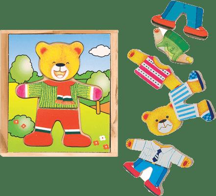 WOODY Puzzle šatníková skriňa Medvedík, 18 dielov