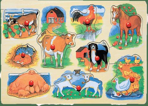 WOODY Puzzle na doske Farma s mláďatkami