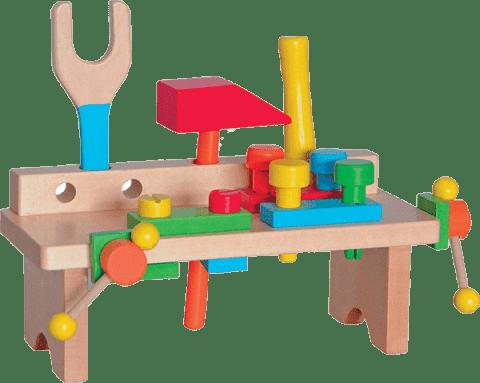 WOODY Drewniany stolik z narzędziami