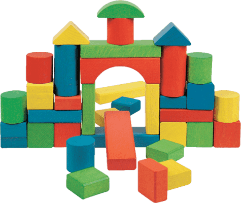 WOODY Zestaw kolorowych klocków w pudełeczku, 36 elementów