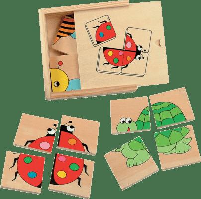WOODY Mini puzzle Beruška v dřevěné krabičce