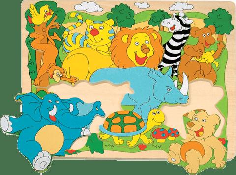 WOODY Puzzle na doske Veselé africké zvieratká