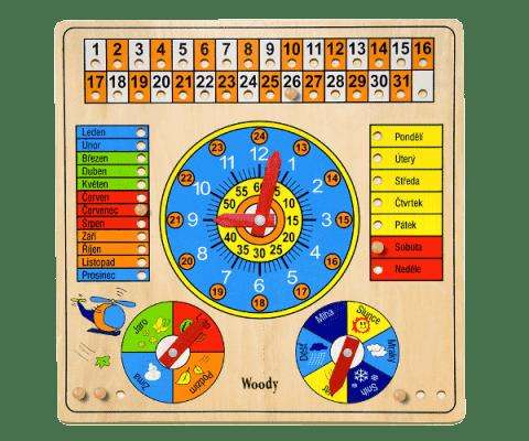 WOODY Viacúčelový kalendár s hodinami a barometrom