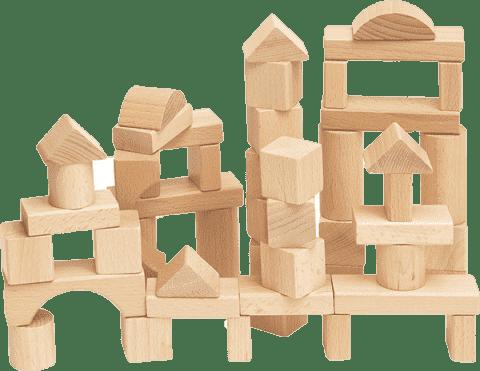 WOODY Stavebnica kocky prírodný v kartóne , 50 dielov