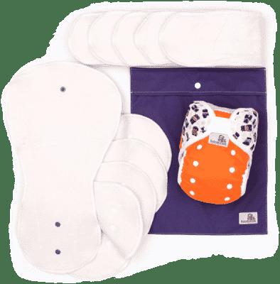 BAMBOOLIK Látkové plienky AI2 - denná testovacia sada batoľa, oranžová+zvieratká