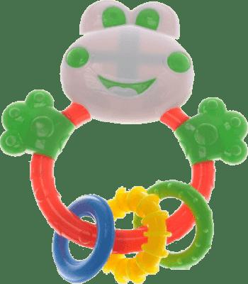 BABY'S HAPPINESS Chrastítko žabka s kousacími kroužky - bílé