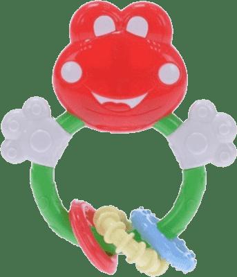 BABY'S HAPPINESS Hrkálka žabka s krúžkami na hryzenie – červená