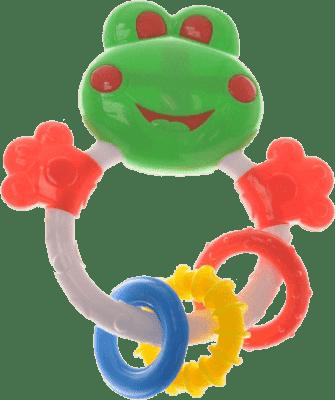 BABY'S HAPPINESS Grzechotka żabka z okrągłymi gryzaczkami – zielona